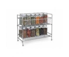 Navaris Gewürzregal, mit 2 Etagen - Gewürzhalter Gewürz Schrank Regal für Gewürze - freistehend - vielseitiger Organizer für Küche und Bad