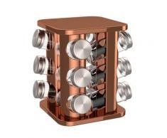 bonVIVO Gewürzbehälter »Gewürzregal in Kupfer-Chrom-Look«, Edelstahl, (13-tlg)