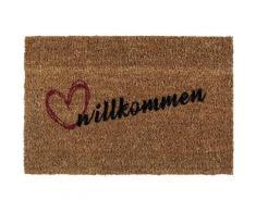 Fußmatte »Kokos Willkommen«, Andiamo, rechteckig, Höhe 17 mm, Schmutzfangmatte, mit Spruch, In- und Outdoor geeignet