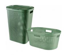 Curver Wäschekorb »INFINITY RECYCLING« (Set, 2 Stück), Wäschebox 60L + Wäschekorb 40L