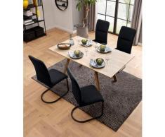 my home Essgruppe »Alex/Freja«, (Set, 5-tlg), aus Holzwerkstoff, bestehend aus Alex Esstisch 160 cm und 4er Set Freja Stühle in Samtstoff