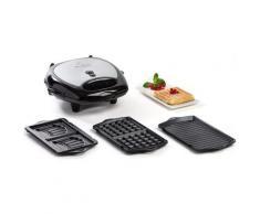 Moulinex Waffeleisen SW6118 Kombigerät Break Time, 700 W, Sandwich-Toaster, Kontaktgrill für Panini Inklusive 3 antihaftbeschichtete Plattensets 700 Watt