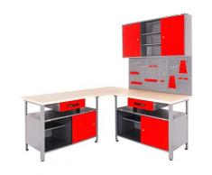 ONDIS24 Werkstatt-Set, (Set, 4-tlg), mit 2 Werkbänken, Werkzeugschrank & Lochwand