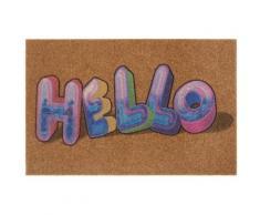 Fußmatte »Graffiti Hello«, my home, rechteckig, Höhe 10 mm, Schmutzfangmatte, mit Spruch, In- und Outdoor geeignet, Kokos-Optik