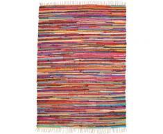 Teppich »Multi«, Andiamo, rechteckig, Höhe 10 mm, Flachgewebe, Flickenteppich, reine Baumwolle, handgewebt, mit Fransen, Wohnzimmer