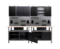 ONDIS24 Werkstatt-Set, (Set), 2x Werkbank, 2x Werkstattschrank, 2x Lochwand