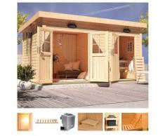 Karibu Saunahaus »Matz«, BxTxH: 426 x 276 x 226 cm, 38 mm, 9-kW-Bio-Ofen mit ext. Steuerung, Vorraum