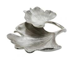 GILDE Dekoschale »Schale Ginkgo Blatt, silberfarben« (1 Stück), Doppelschale, Breite 34 cm, aus Metall, Blattform, Wohnzimmer