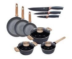 KING Topf-Set »Essential«, Aluminium, (Set, 12-tlg., 3 Töpfe, 3 Deckel, 3 Pfannen, 3 Küchenmesser), Induktion