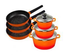 KING Topf-Set »Shine Orange«, Aluminiumguss, (Set, 9-tlg., 3 Pfannen, 3 Töpfe, 3 Deckel), Induktion