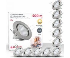 B.K.Licht LED Einbaustrahler, LED Einbauleuchten schwenkbar Decken-Strahler Einbau-Spots nickel matt GU10