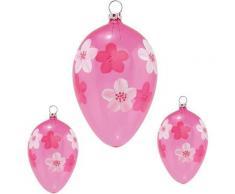 Thüringer Glasdesign Osterei »Blüten« (Set, 3 Stück), mundgeblasen, handdekoriert