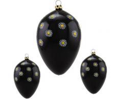 Thüringer Glasdesign Osterei »Gänseblümchen« (Set, 3 Stück), mundgeblasen, handdekoriert