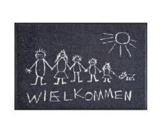 Fußmatte »Wielkommen«, wash+dry by Kleen-Tex, rechteckig, Höhe 9 mm, Schmutzfangmatte, mit Spruch, n- und Outdoor geeignet, waschbar