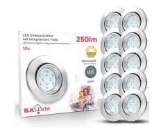 B.K.Licht LED Einbaustrahler, LED Einbauleuchten schwenkbar weiß inkl. 3W 250lm GU10 Decken-Spot Einbauspots
