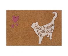 Fußmatte »Katze mit herz«, my home, rechteckig, Höhe 10 mm, Schmutzfangmatte, mit Spruch, In- und Outdoor geeignet, Kokos-Optik