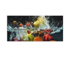Artland Küchenrückwand »Spritzendes Obst auf dem Wasser«, (1-tlg), selbstklebend in vielen Größen - Spritzschutz Küche hinter Herd u. Spüle als Wandschutz vor Fett, Wasser u. Schmutz - Rückwand, Wandverkleidung aus Alu
