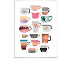 Wall-Art Poster »Kaffeetassen Bunt«, Geschirr & Besteck (1 Stück)