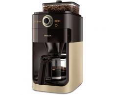Philips Kaffeemaschine mit Mahlwerk Grind & Brew HD7768/90, aromaversiegeltes Bohnenfach, champagner/schwarz