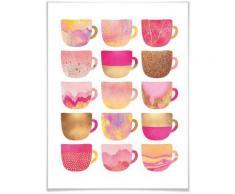 Wall-Art Poster »Kaffeetassen Pink«, Geschirr & Besteck (1 Stück)
