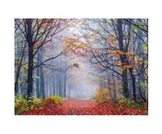 Fototapete »Foggy Autumn Forest Road«, glatt