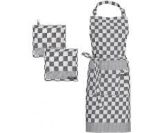 DDDDD Kochschürze »Barbeque«, (Set, 3-tlg., bestehend aus 1x Kochschürze + 2x Topflappen)