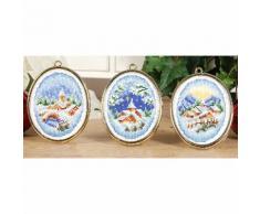 Miniatur-Stickbilder Winterliche Weihnachtsdörfer, 6 x 8 cm, 3er-Set