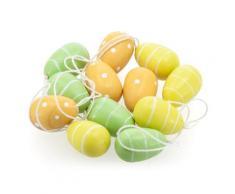 Mini-Ostereier aus Holz, gelb/grün, 12 Stück