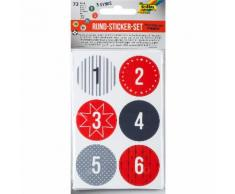 Folia Rund-Sticker-Set Adventskalender-Zahlen, 72 Stück