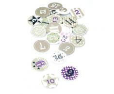 Adventskalender-Zahlen, grau-weiß-violett, 3 cm