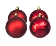Weihnachtskugeln aus Kunststoff, rot, 10 cm Ø