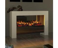muenkel design bridge XL [moderner Opti-myst Design Elektrokamin]: weiß (warm) - Ohne Heizung - Schwarz, spiegelnd
