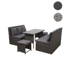Poly-Rattan Garnitur HWC-G16, Garten-/Lounge-Set, Gastronomie 2x2er Sofa Tisch 2xHocker ~ Variantenangebot