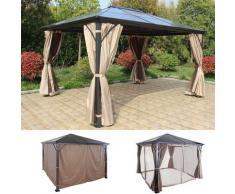 Hardtop Pergola HWC-C74, Garten Pavillon, Kunststoff-Dach Seitenwand + Moskitonetz Alu ~ Variantenangebot