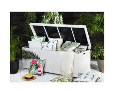 Auflagenbox weiß Rattan 158x63 cm Garten Terrasse