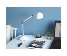 Büroleuchte Weiß Metall 60 cm Arm und Schirm verstellbar Kabel mit Schalter Industrie Look