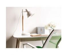Büroleuchte Weiß Metall und Holz 53 cm Schirm verstellbar Kabel mit Schalter Industrie Look