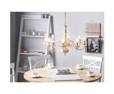 Kronleuchter Weiß und Gold Eisen 8-flammig Vintage Glamour Stil