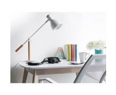 Büroleuchte Weiß Metall und Holz 50 cm Arm und Schirm verstellbar Kabel mit Schalter Industrie Look