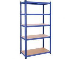 UAC Schwerlastregale 200 x 100 x 50 cm, Stecksystem, Lagerregal, Werkstattregal, bis 875 kg belastbar, 5 verstellbare Ablagen, blau