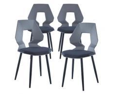 2er 4er Set Design Stühle Esszimmerstühle Küchentühle Wohnzimmerstuhl Bürostuhl Kunststoff 4 St. Grau / Dunkelgrau