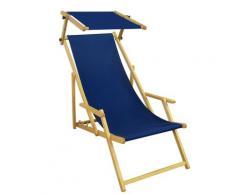 Liegestuhl blau Gartenliege Sonnenliege Sonnendach Strandstuhl Buche klappbar 10-307 N S