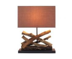 Tischleuchte Holzleuchte Coacalco braun & Holz Natur 40x50cm 10941