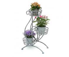 DanDiBo Blumentreppe Metall Grau 75 cm Blumenständer mit 3 Ablagen 96011 Blumensäule Pflanzenständer Pflanzensäule Blumenhocker
