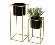 DanDiBo Blumenhocker mit Topf Metall Gold Schwarz Eckig 2er Set Blumenständer 96035 Blumensäule Modern Pflanzenständer Pflanzenhocker