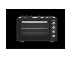 ICQN 42 Liter Minibackofen mit Kochplatten   3800 W   Umluft   Pizza-Ofen   Doppelverglasung   Drehspieß   inkl. Backblech Set   Elektrischer Mini