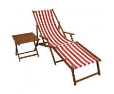 Gartenliege rot-weiß Fußteil Beistelltisch Deckchair Holz Buche Liegestuhl Relaxliege 10-314FT