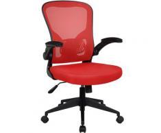Bürostuhl Ergonomisch Drehstuhl Schreibtischstuhl Mesh Netzstoff office Stuhl Schwarz / Rot ohne Kopfstütze
