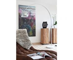 SalesFever Bogenlampe 208 cm   höhenverstellbar   Ø Lampenschirm 30 cm   echter Marmorfuß   B 155 x T 30 x H 208 cm   chrom