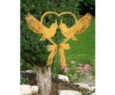 Edelrost Herz mit Tauben Wunschnamen + Datum, Rostiges Metall, Gartenfigur, Metall Figur, Gartendeko